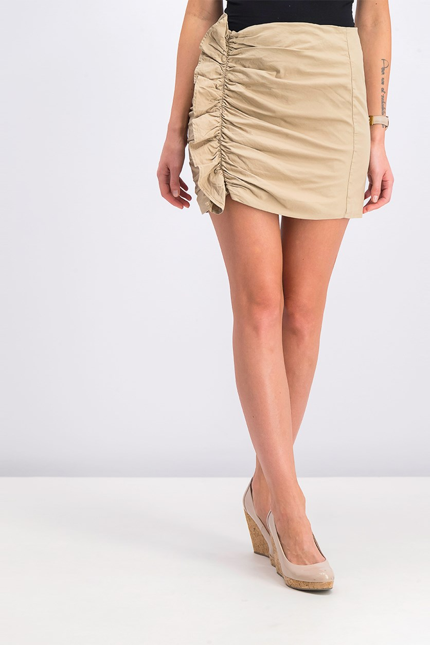 Women Ruffle Mini Skirt, Beige