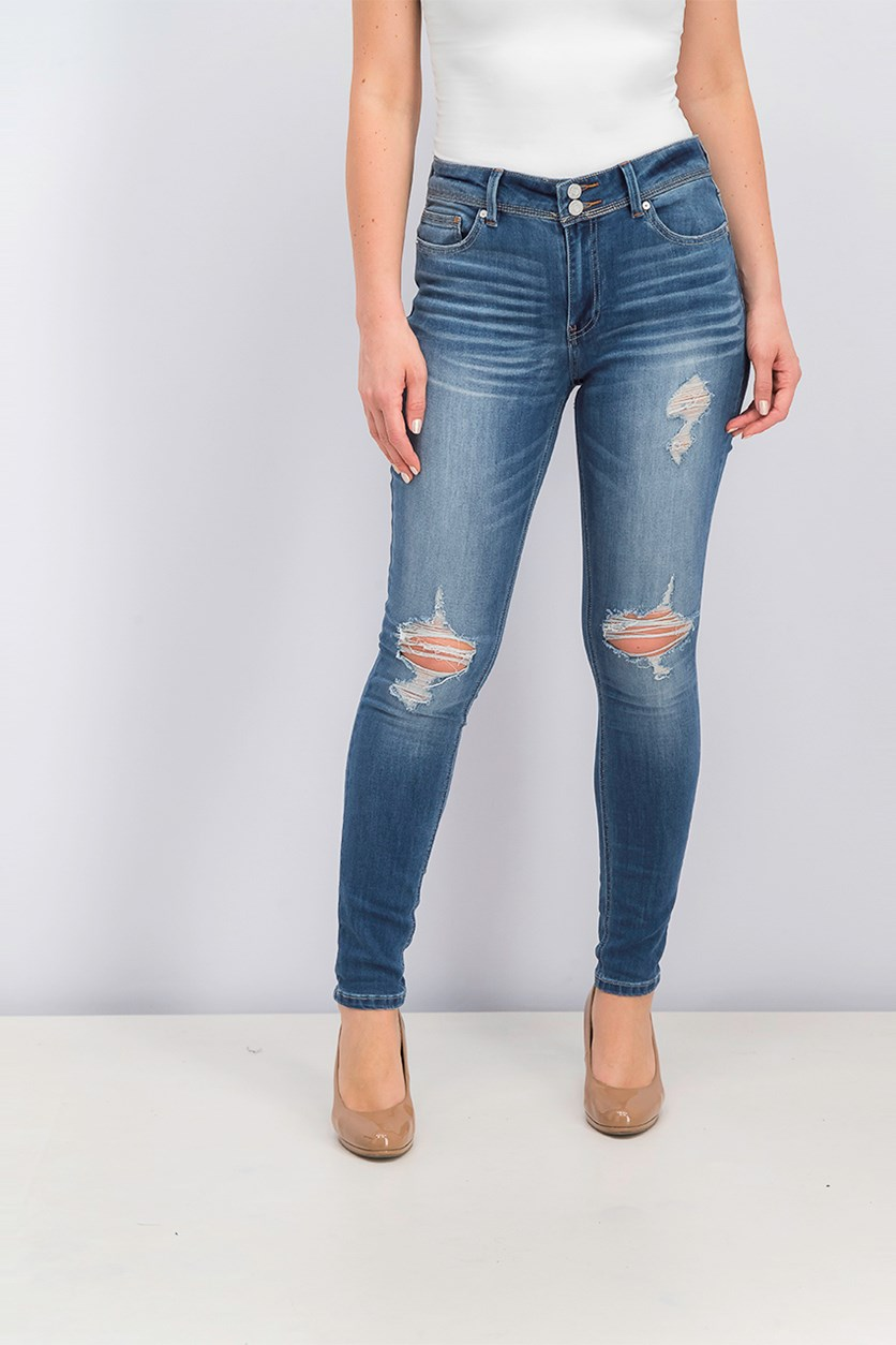Juniors Distressed Jeans, Wash Blue
