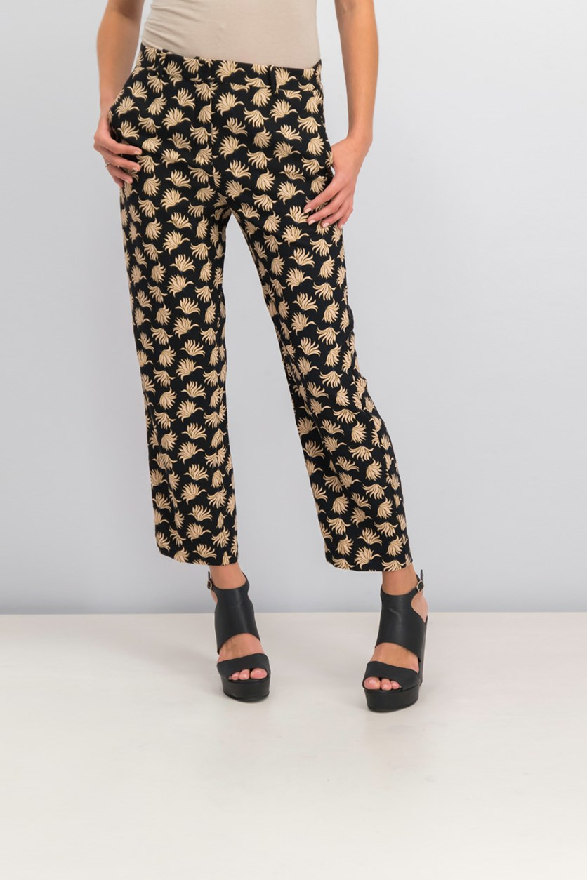 Floral Print Trousers, Black Combo