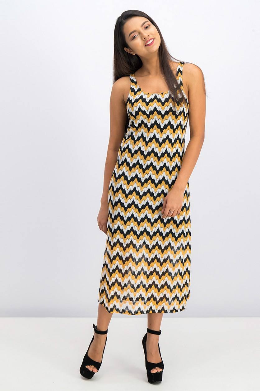 Women's Chevron Printed Dress, Black/Orange/White