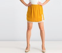 Mango Women Lace Skirt, Mustard Yellow