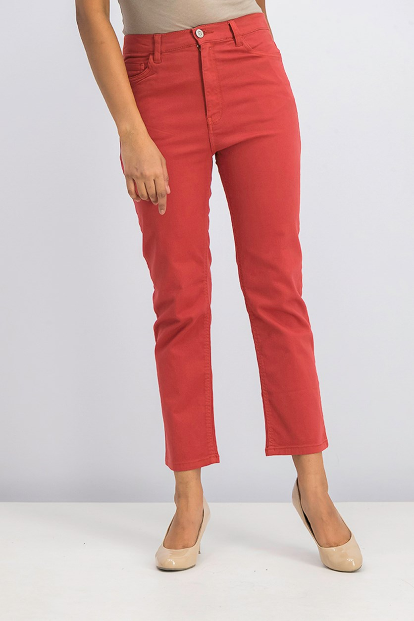 Women's Cropped Straight Pants, Tangerine