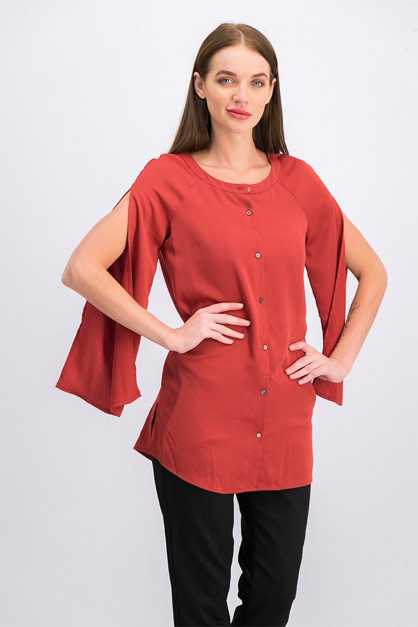 Women's Longline Sleeve Slit Shirt, Cinnamon