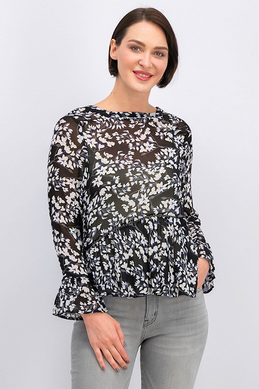Women's Fluted Hem Blouse, Black Combo