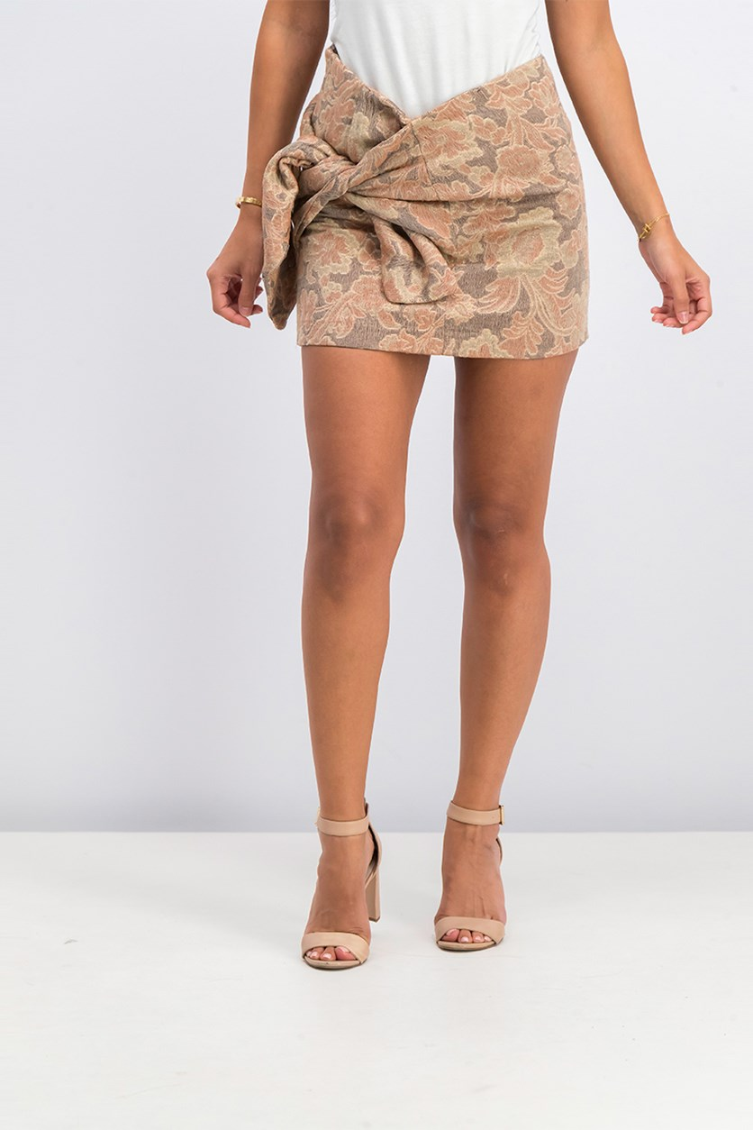Women' Knot Jacquard Skirt, Brown