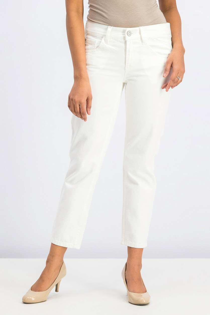Women Relaxed Crop Cigar Jeans, White