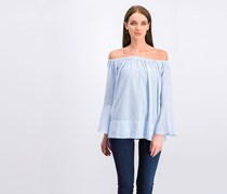 Mango Women's Off-Shoulder Plaid Tops, Blue/White