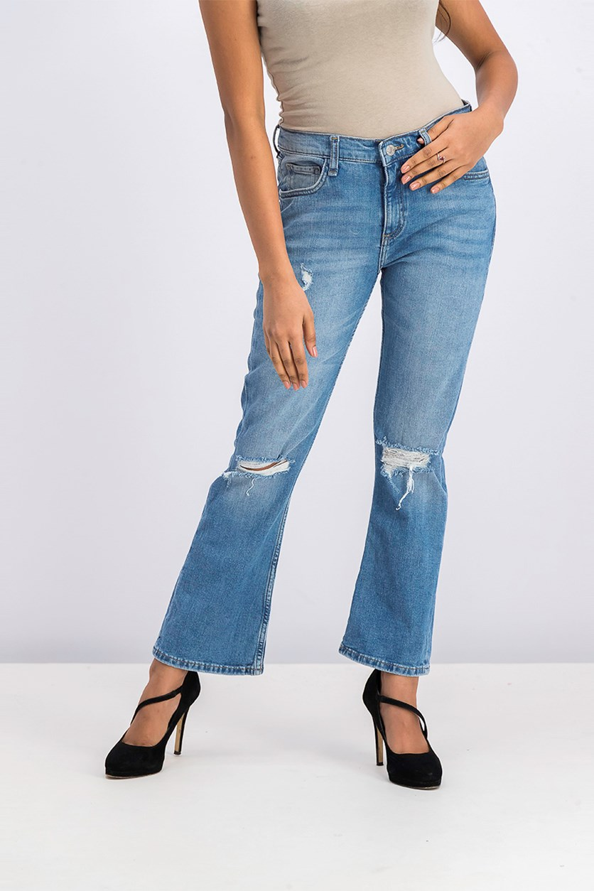 Women's Ripped Jeans, Wash Blue