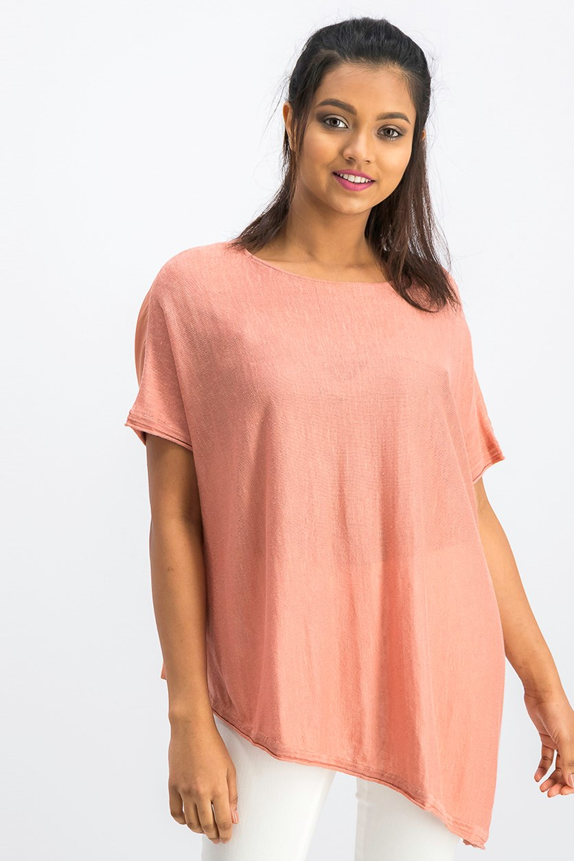 Women's Mango Asymmetrical Hem Top, Peach