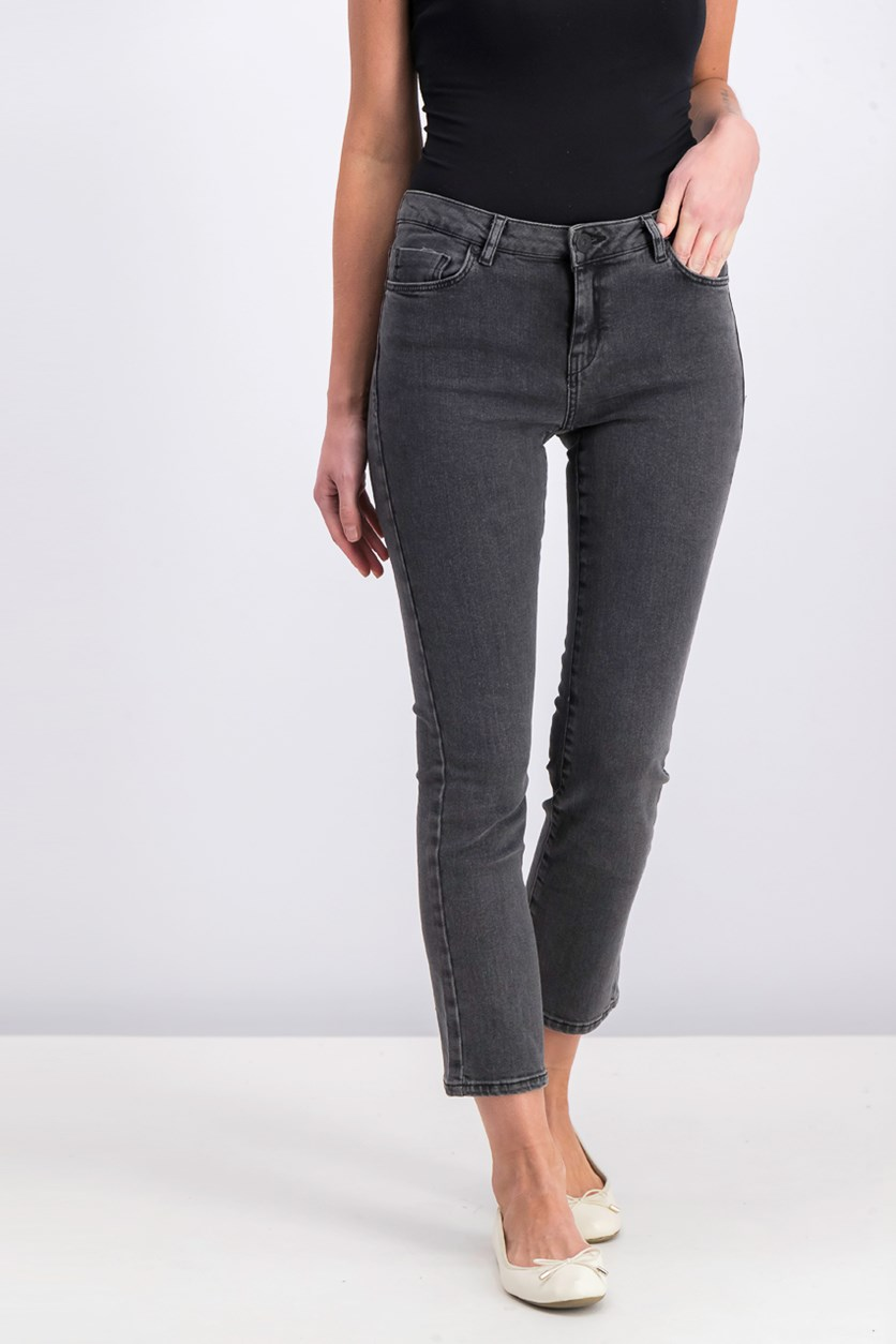 Women's Mango Straight Cropped Jeans, Black Wash