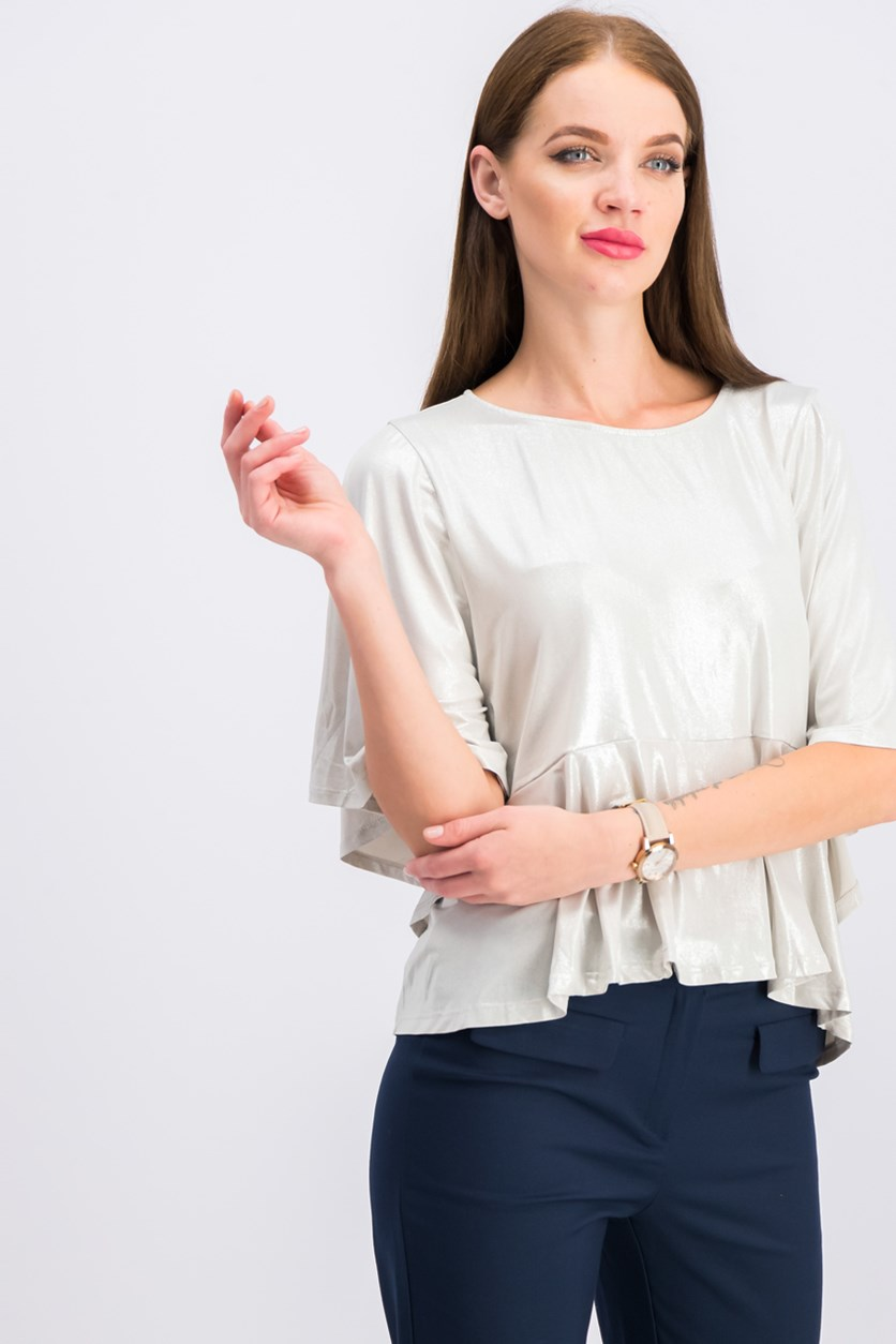 Wome's Short Sleeve Blouse, Silver