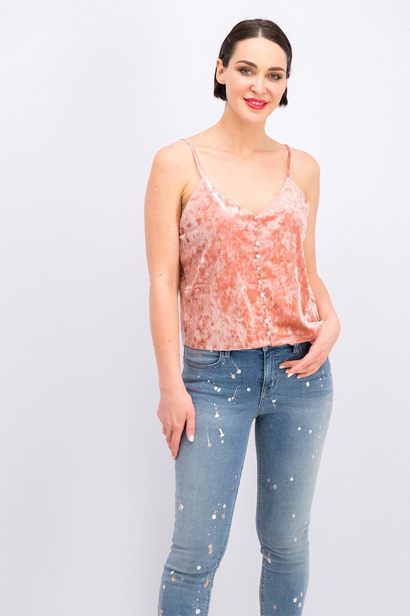 Women's Velvet Camisole Top,Blush