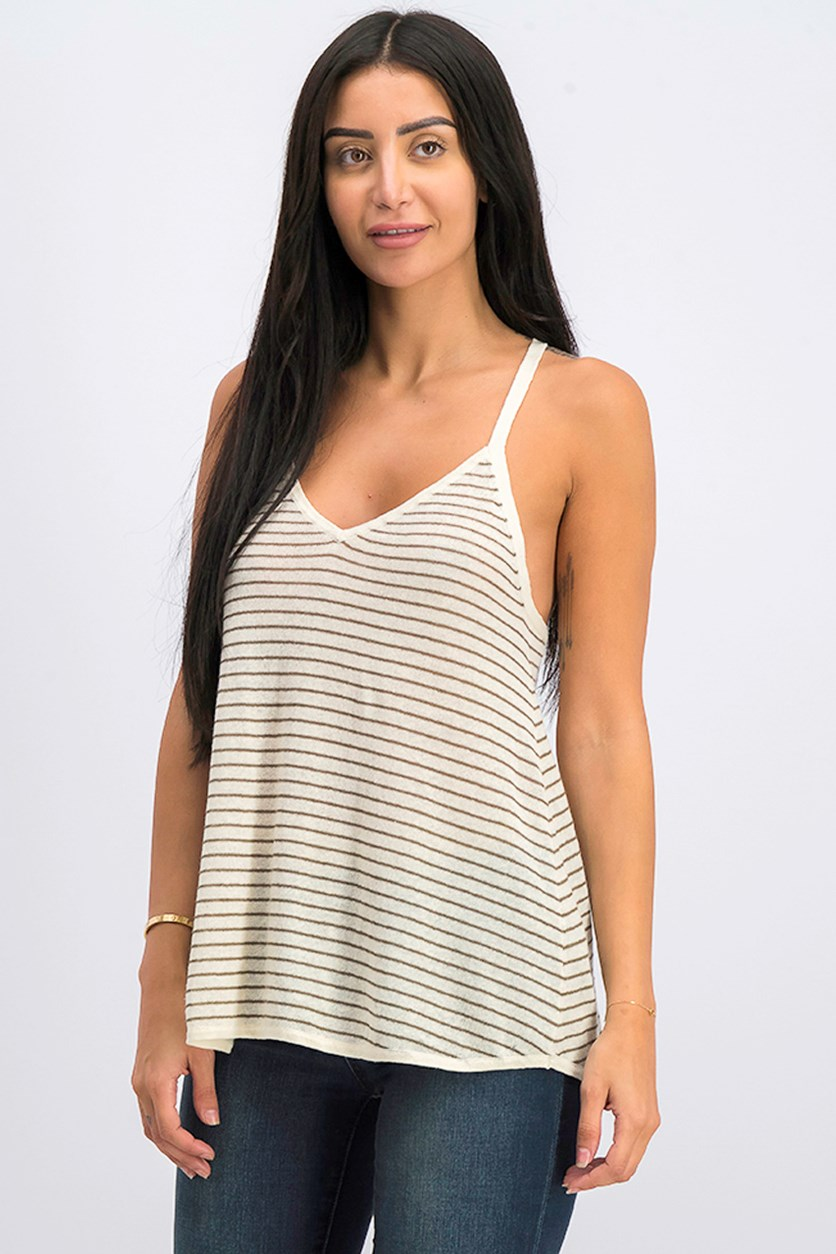 Women's Stripe Tops, Light Beige Combo