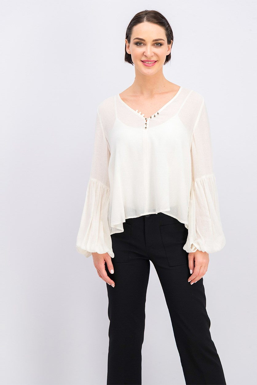 Women's Bell Sleeve V-Neck Top, Ivory