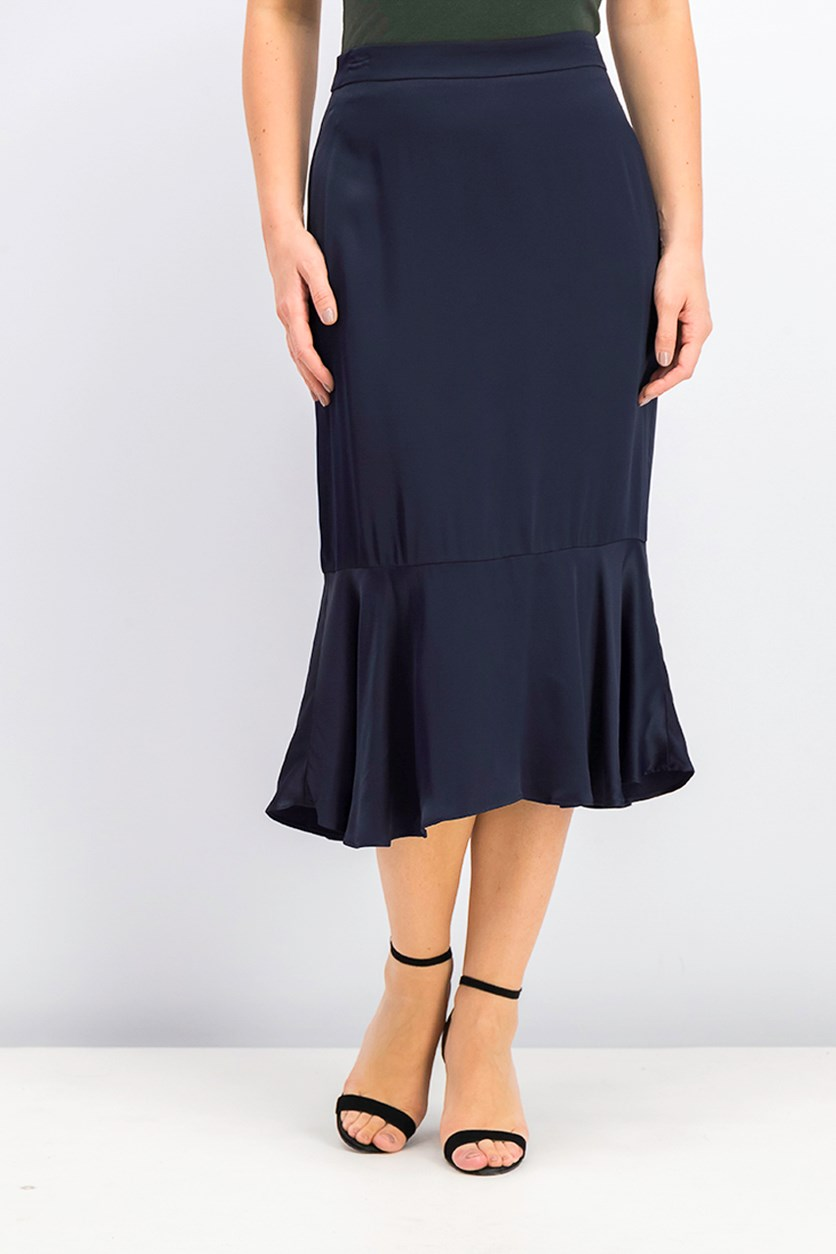 Women's Fluted Hem Skirt, Navy