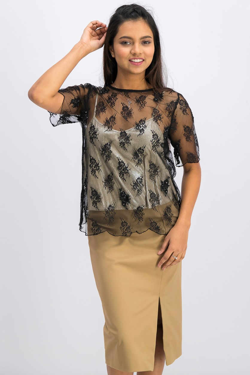 Women's Floral Pattern Top, Black/Beige