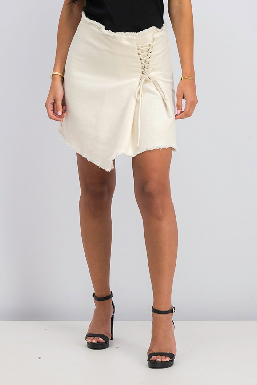 Women's Interlaced Cord Skirt, Beige