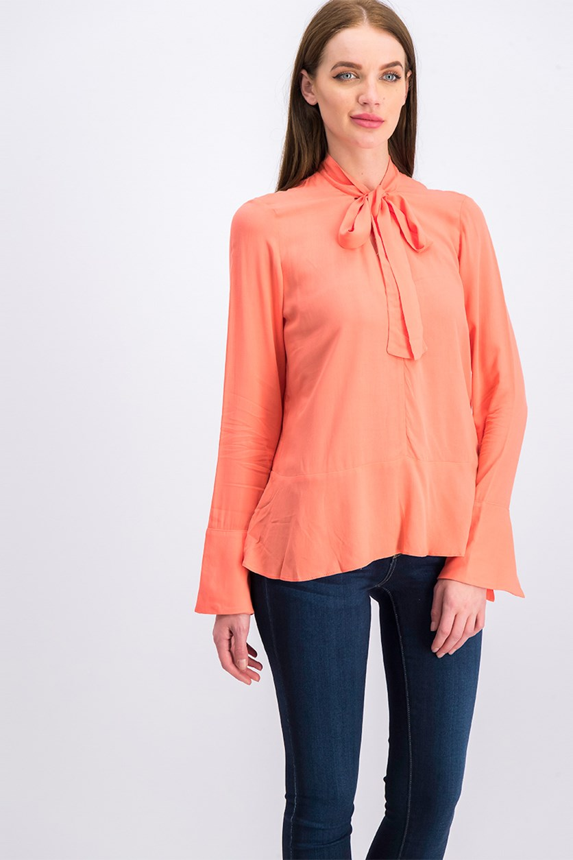 Women's Tie Neck Long Sleeve Top, Coral