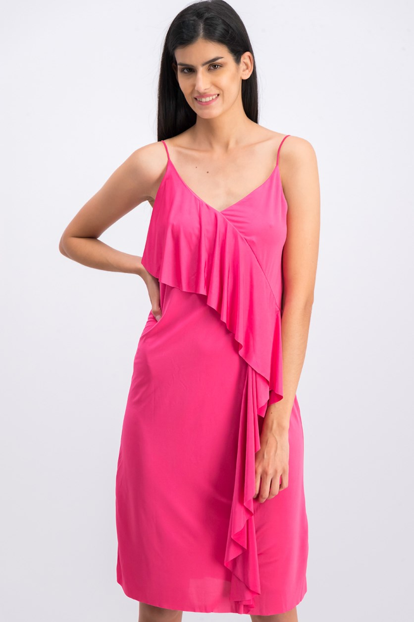 Women's Overlay Dress, Satin Pink