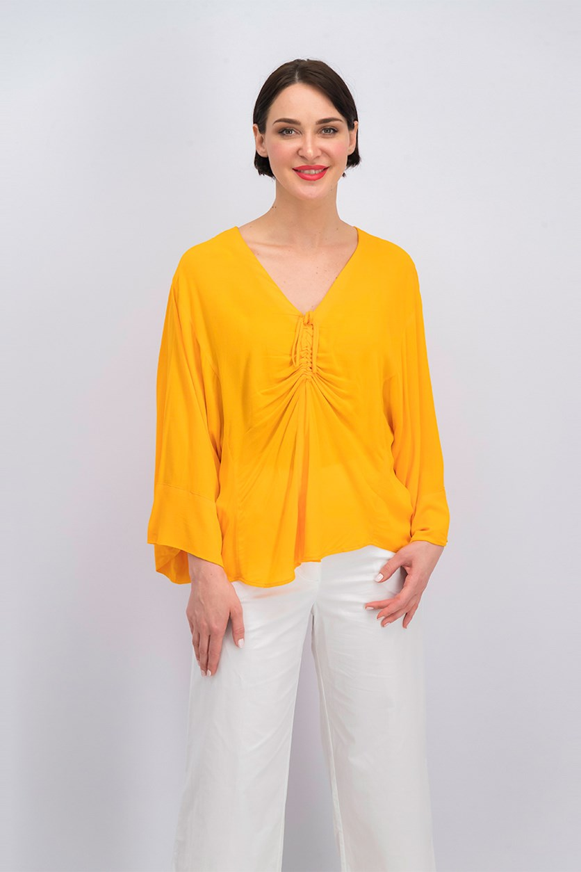 Women's Runched Detail Blouse, Orange