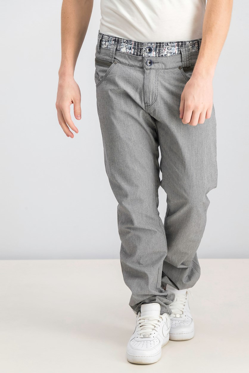 Men's Double Belt Loops Pants, Navy/Grey Combo