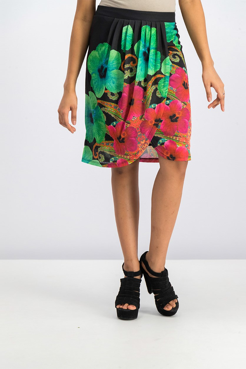 Women's  Floral Skirt, Black/Green