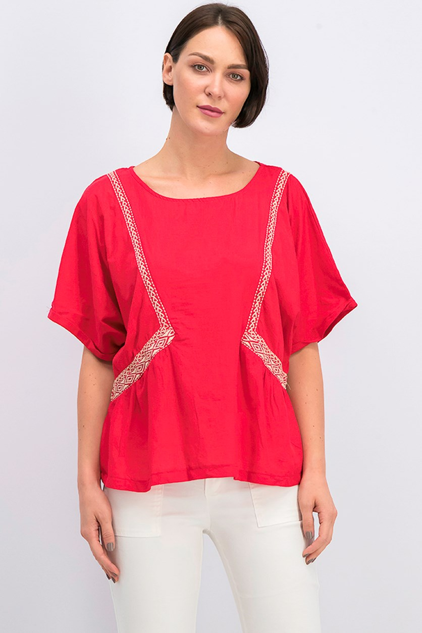 Women's Decorative Trim Blouse, Red