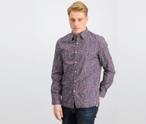 Men's Allover Print Button Down Shirt, Indigo Combo