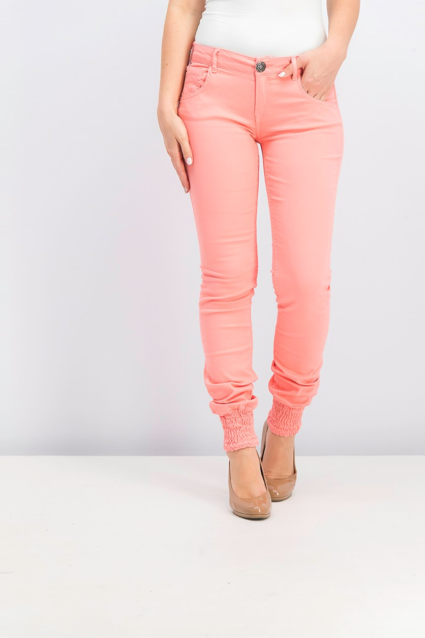 Women's Embroidered Pants, Pink