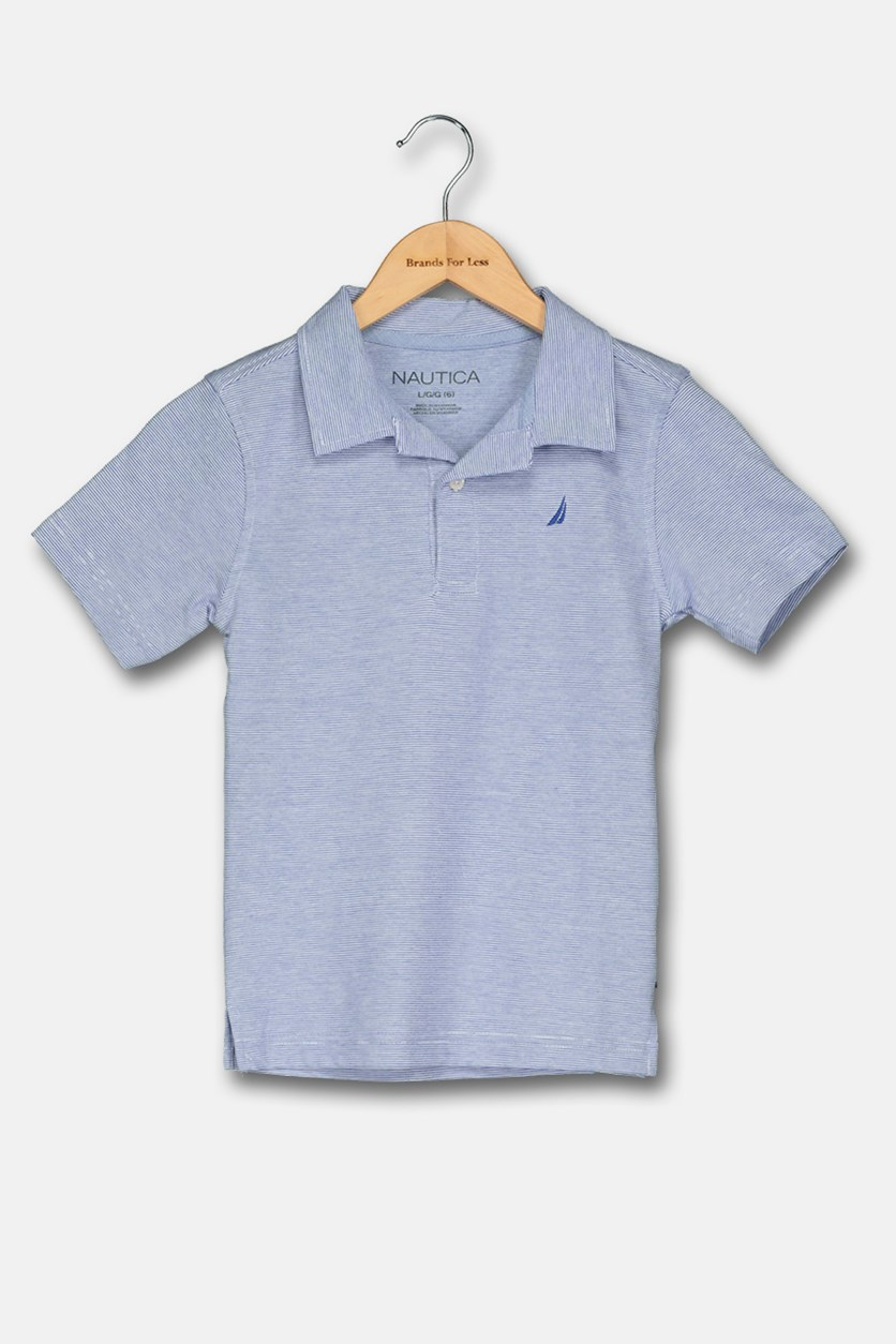 Little Boy's Striped Polo Shirt, Cobalt