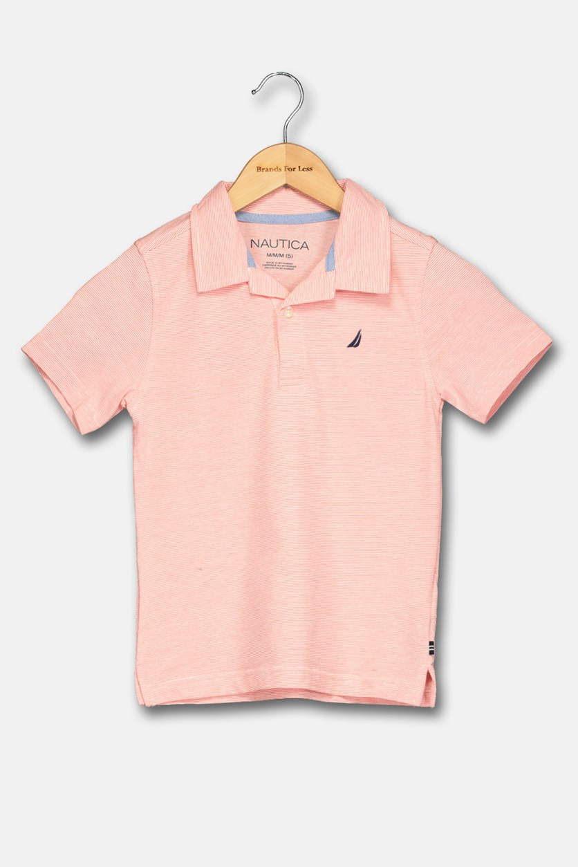 Little Boy's Striped Polo Shirt, Hibiscus
