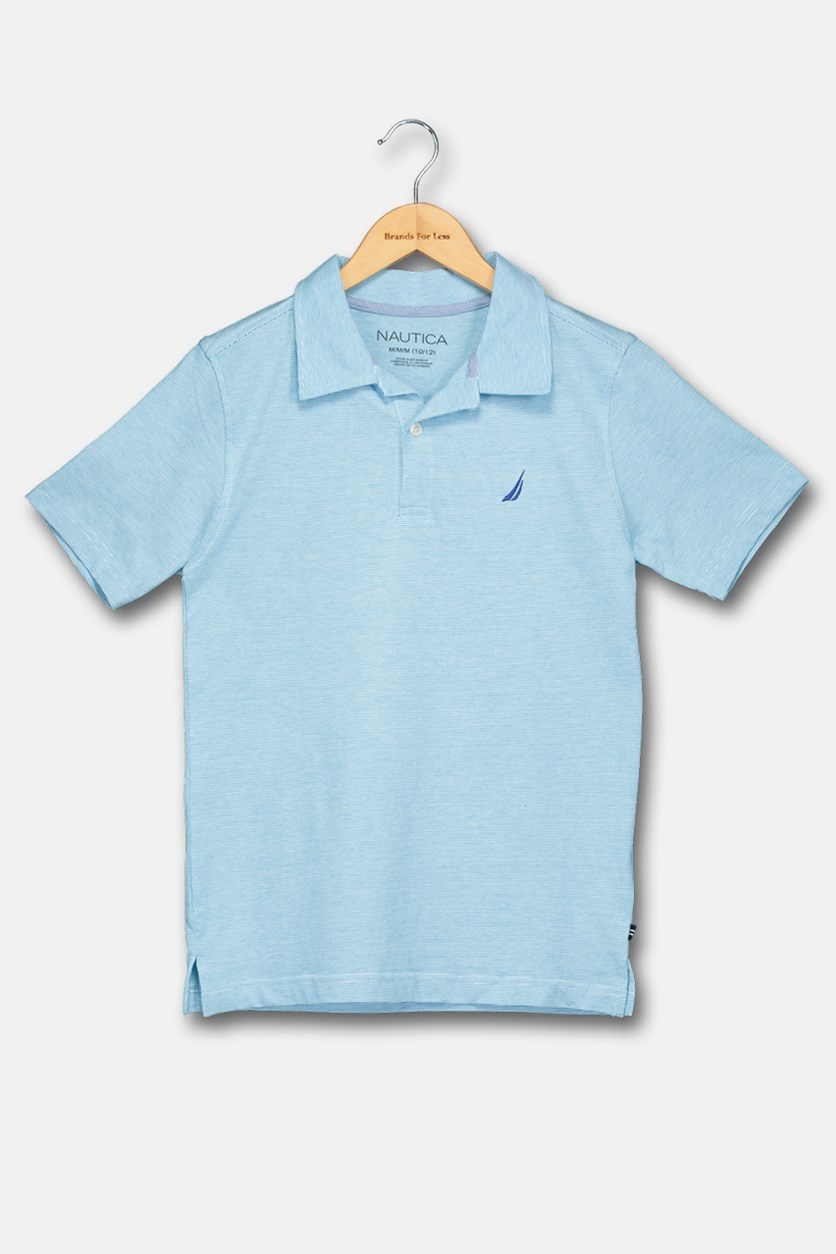 Big Boy's Striped Polo Shirt, Ocean