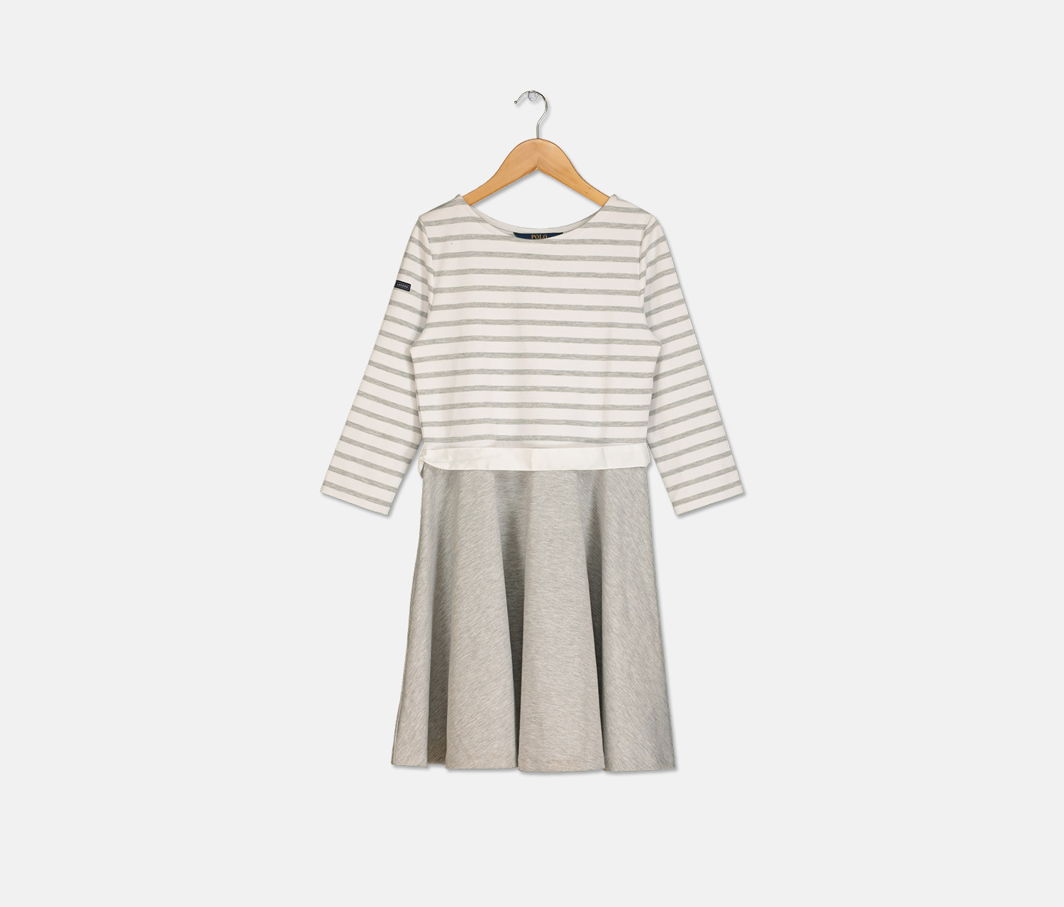 Girl's Striped Jersey-Ponte Knit Dress, Grey/White