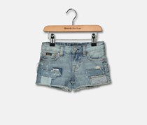 Ralph Lauren Girls' Patchwork Denim Shorts, Blue Washed