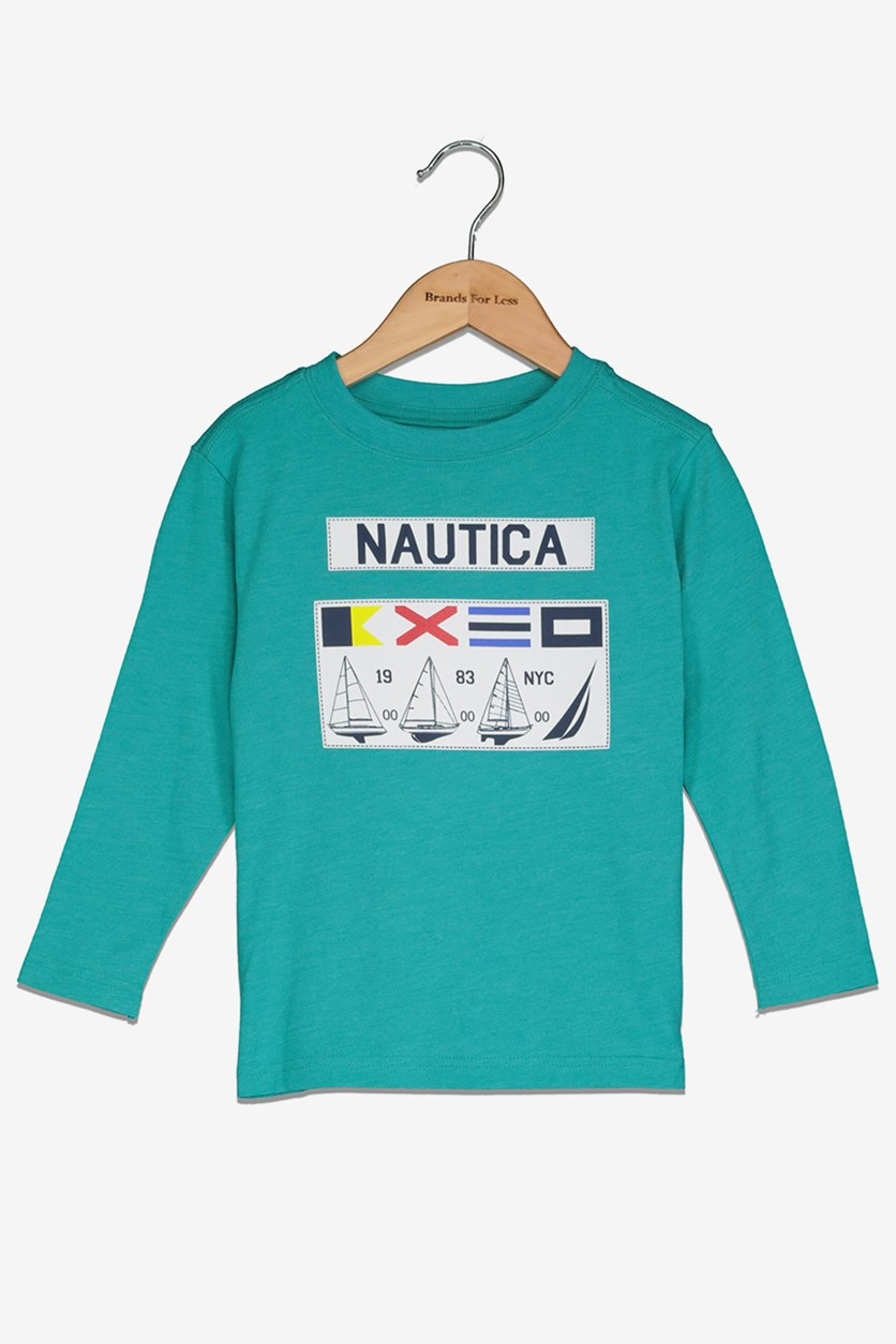 Toddlers Boys Graphic Tee, Teal