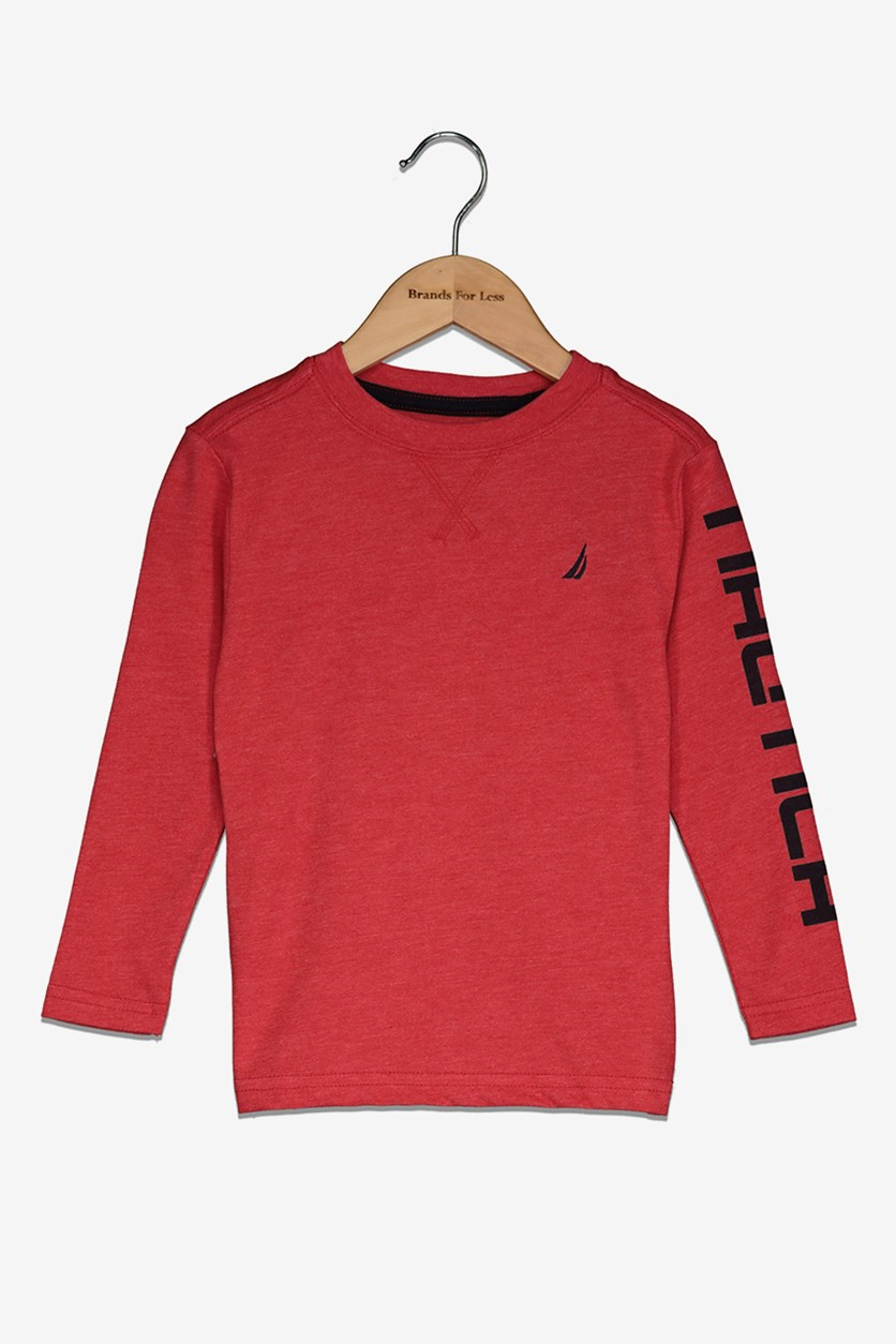 Toddlers Boy's Crew Neck Tee, Carmine Red