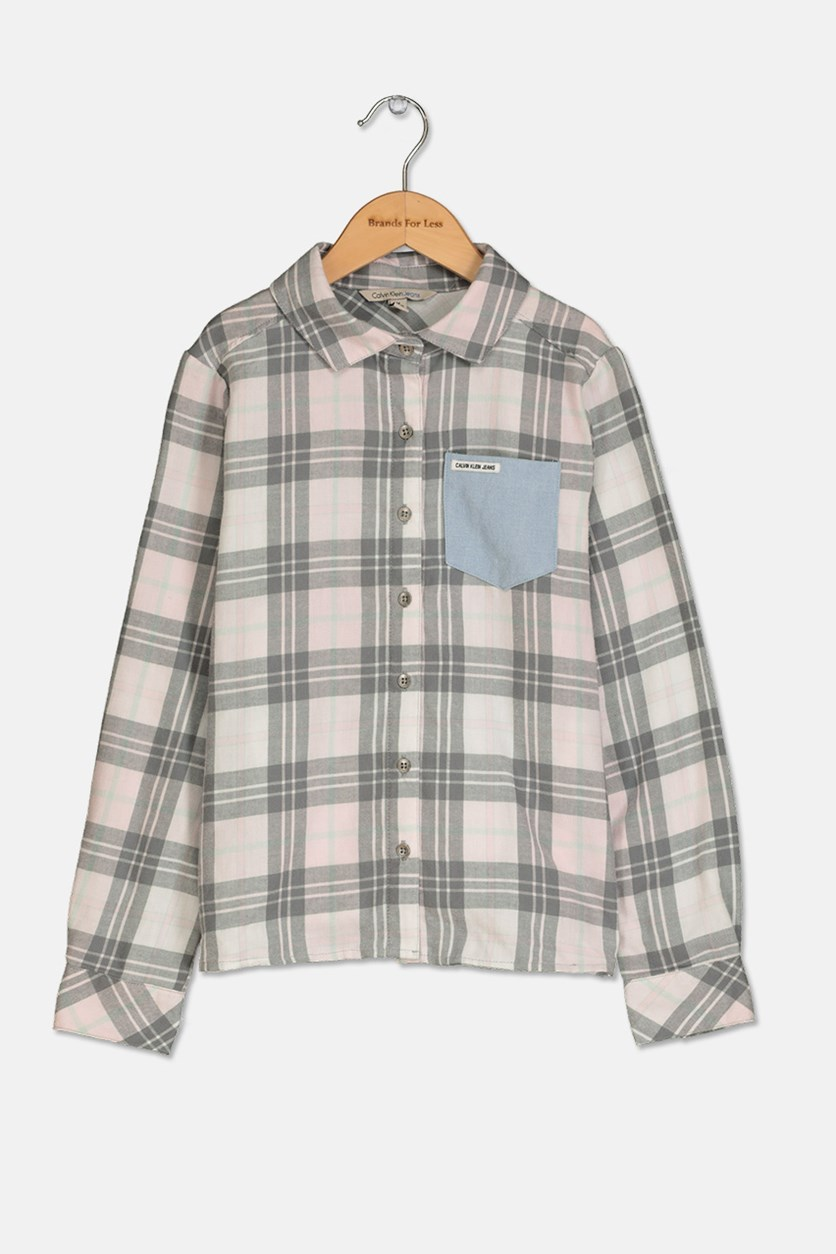Clavin Klein Girls Flannel Plaid Shirt, Light Paspink