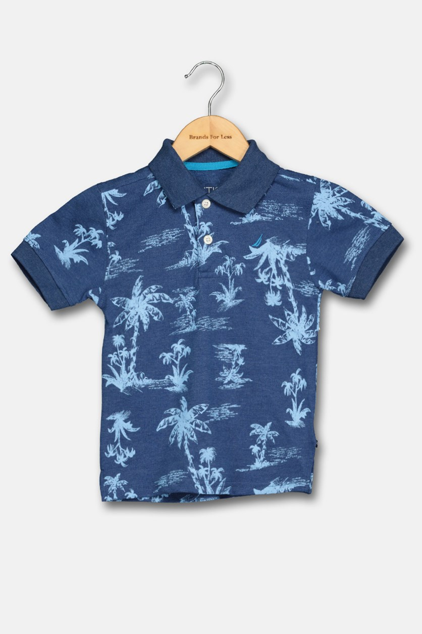 Toddler Boy's Allover Printed Polo Shirt, Indigo