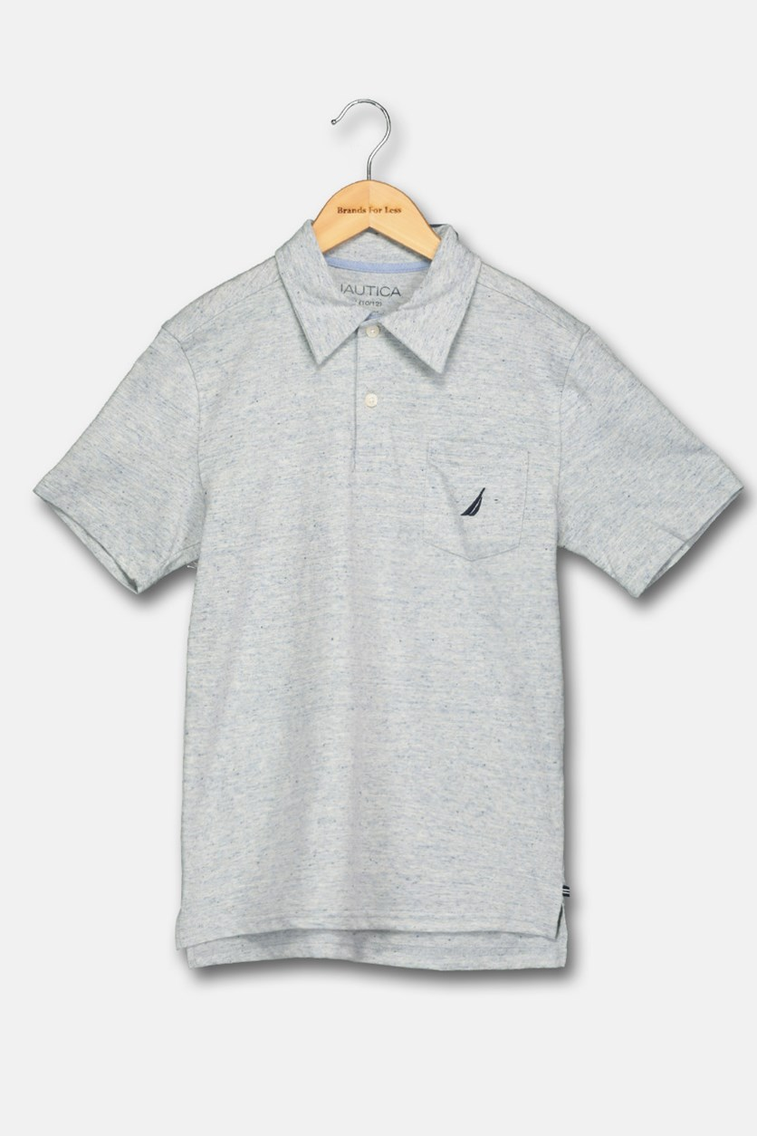 Big Boy's Short Sleeves Polo Shirt, Indigo Heather