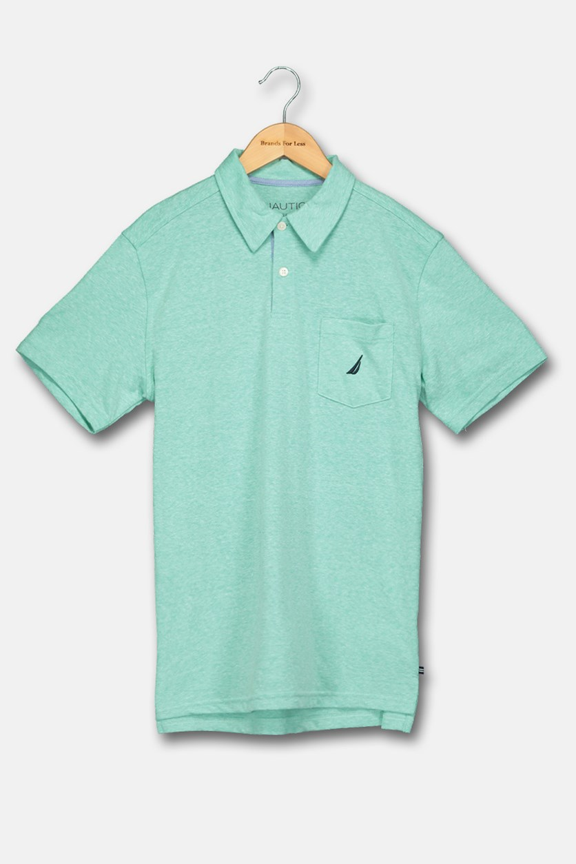 Big Boy's Classic Polo Shirt, Mint/Blue
