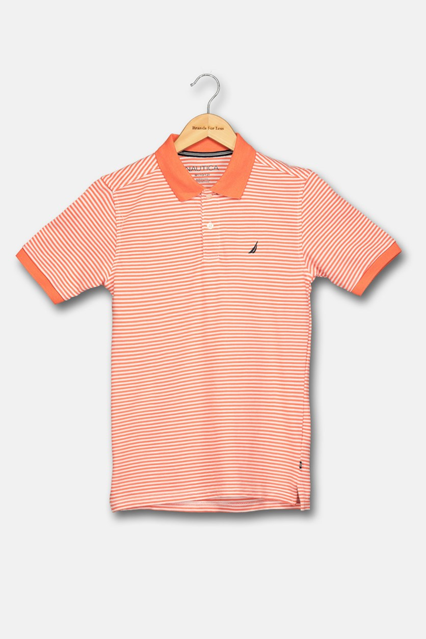 Big Boy's Stripped Polo Shirt, Orange/White