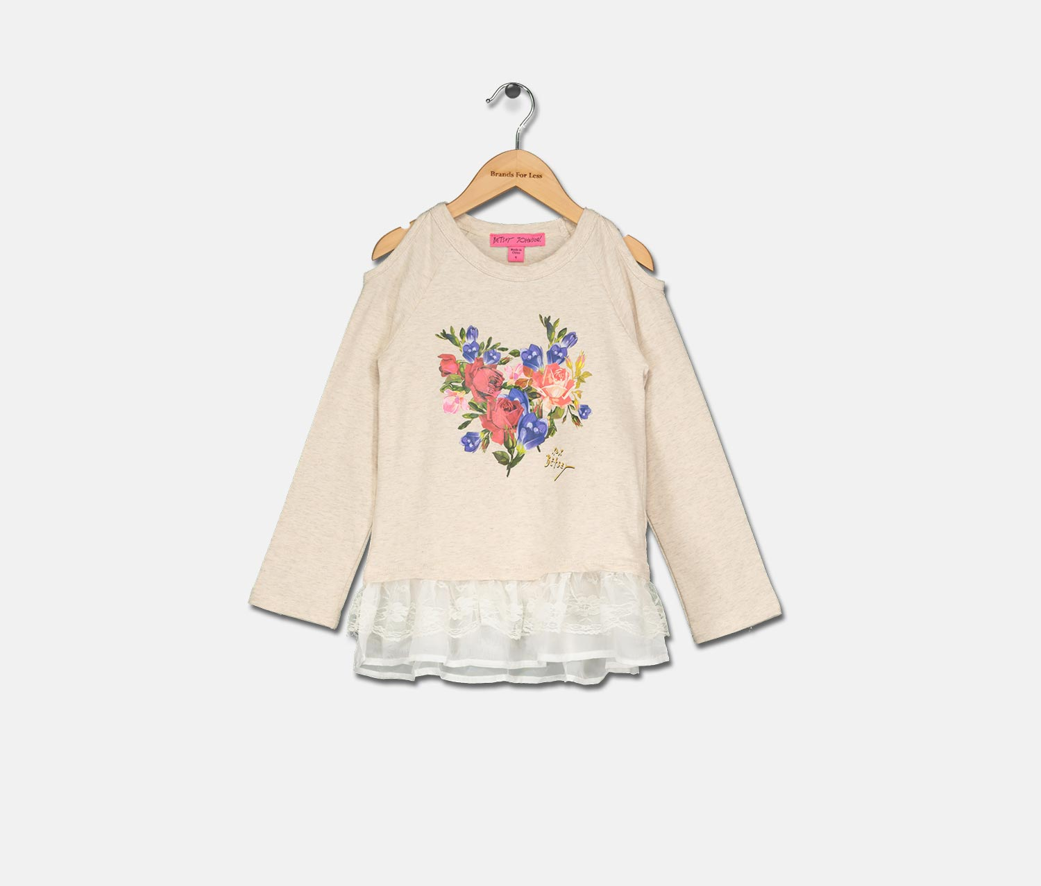 Kids Girls Cold Sholder Floral Print Top, Oatmeal