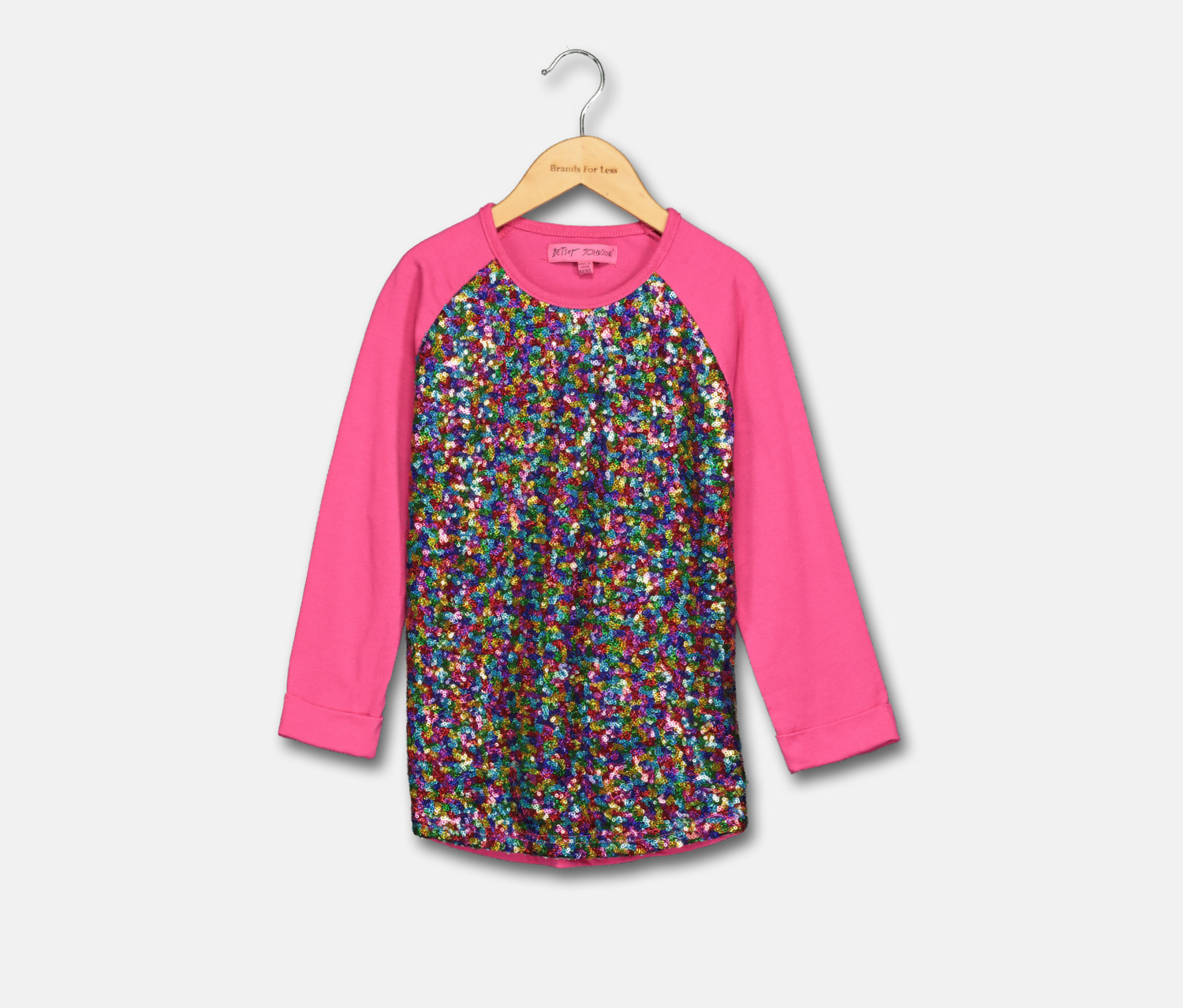 KIds Girls Sequin 3/4 Sleeve Top, Pink