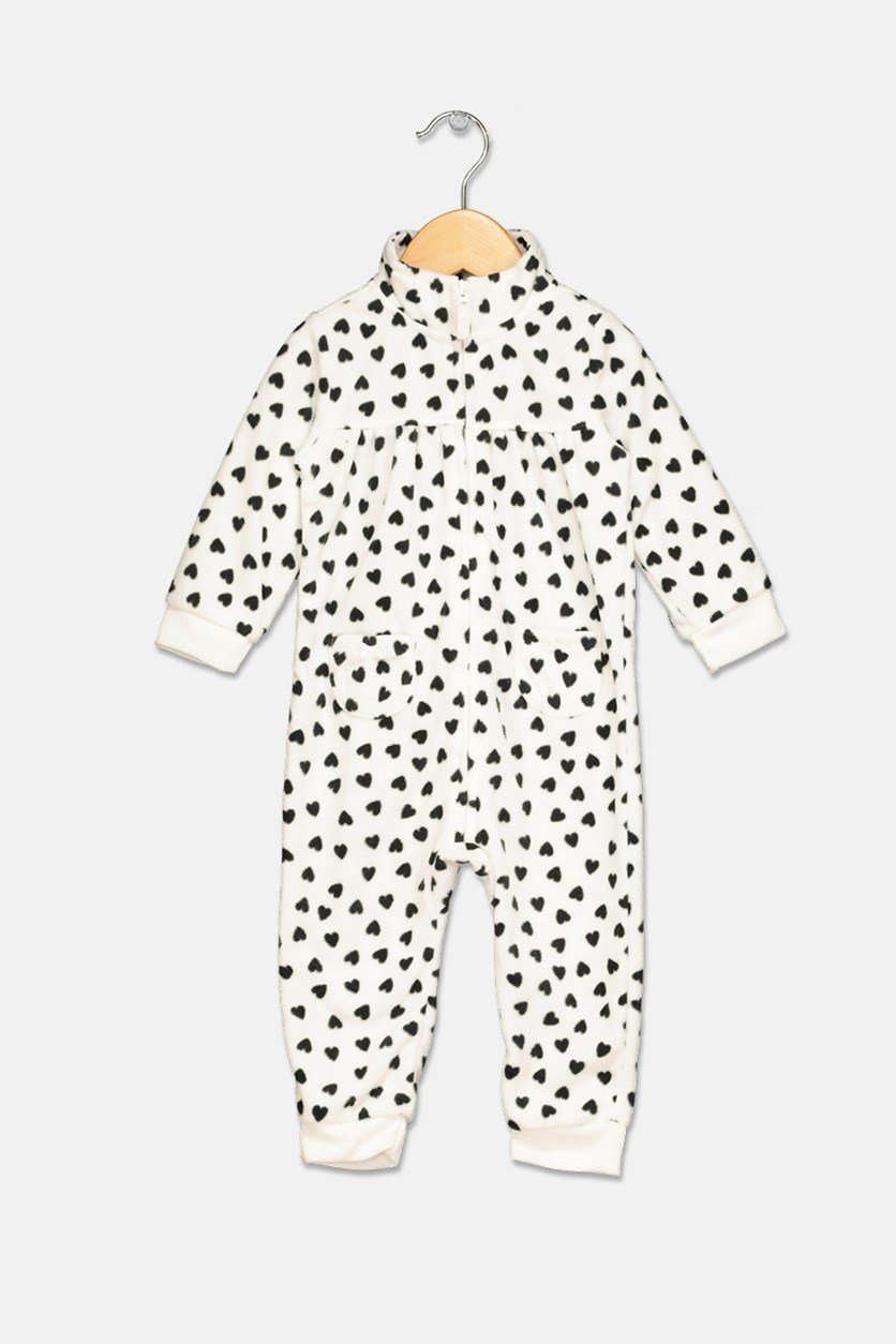 Carter's Baby Girls Heart-Print Fleece Coverall, Black/White
