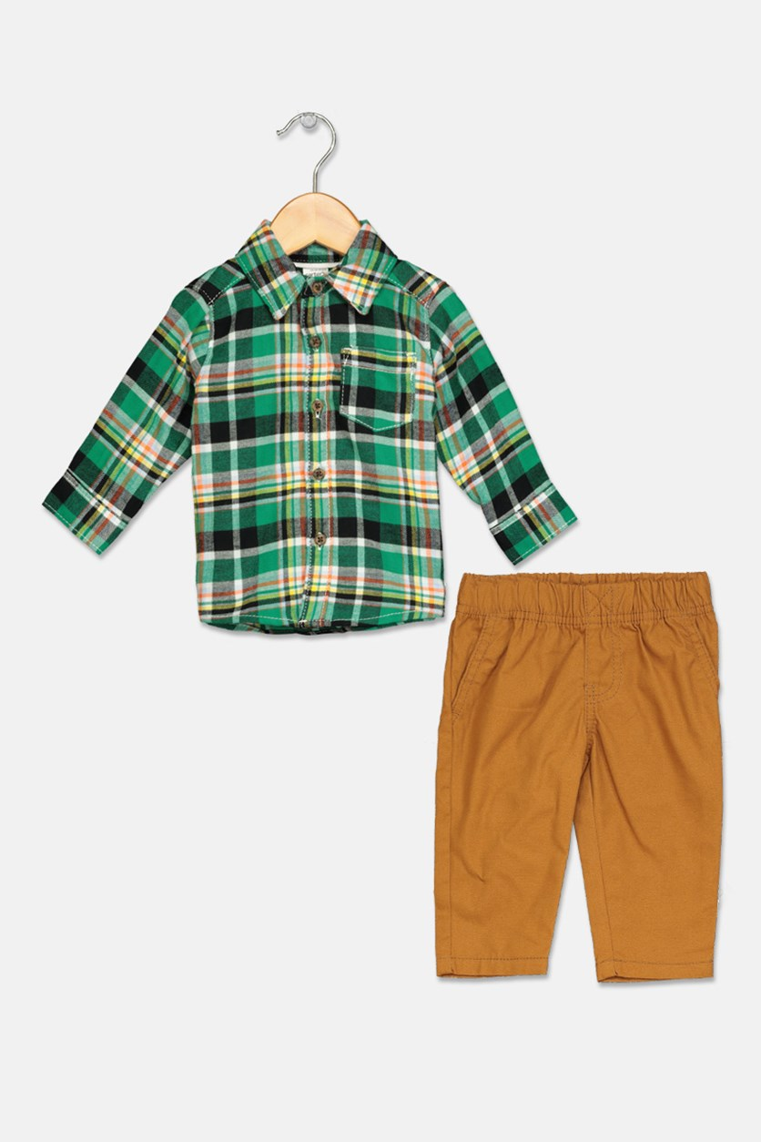 Carter's Baby Boys Plaid Set, Green/Brown