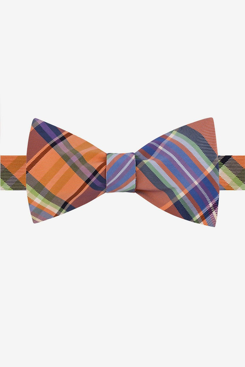 Mens Plaid To-Tie Silk Bow Tie, Orange Combo