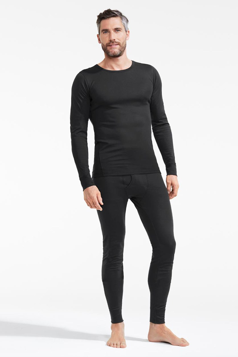 Men's Thermal Performance  Long Sleeves Set Tee, Black