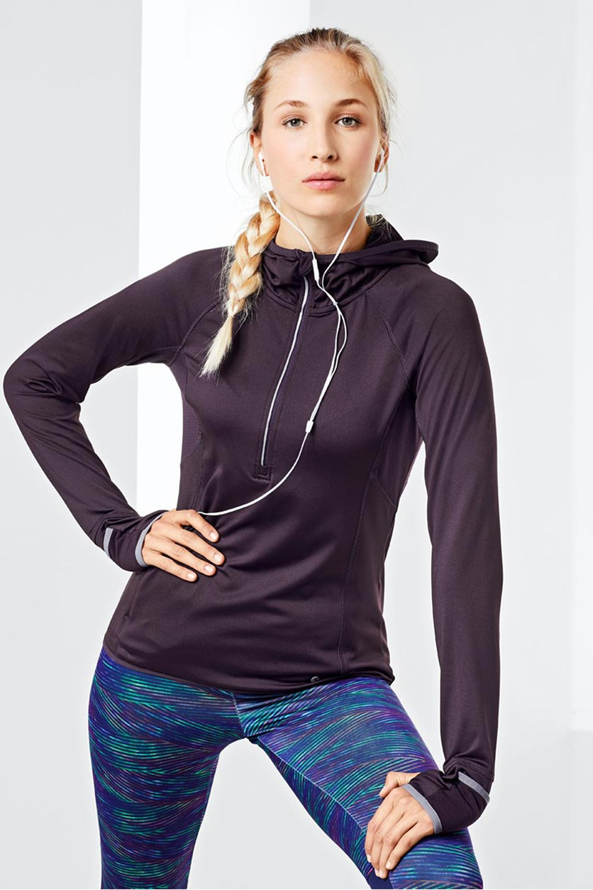 Women's Thermal Hooded Running Shirt, Burgundy