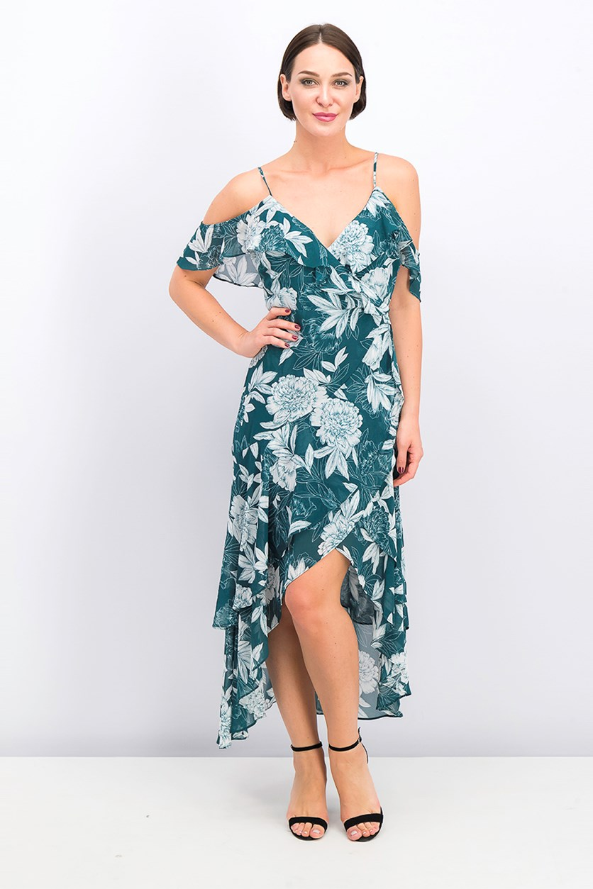 Women's Cold Shoulder Floral Dress, Green