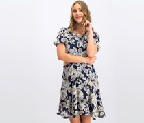 Bardot Women Floral Ruffled Fit & Flare Dress, Navy Combo